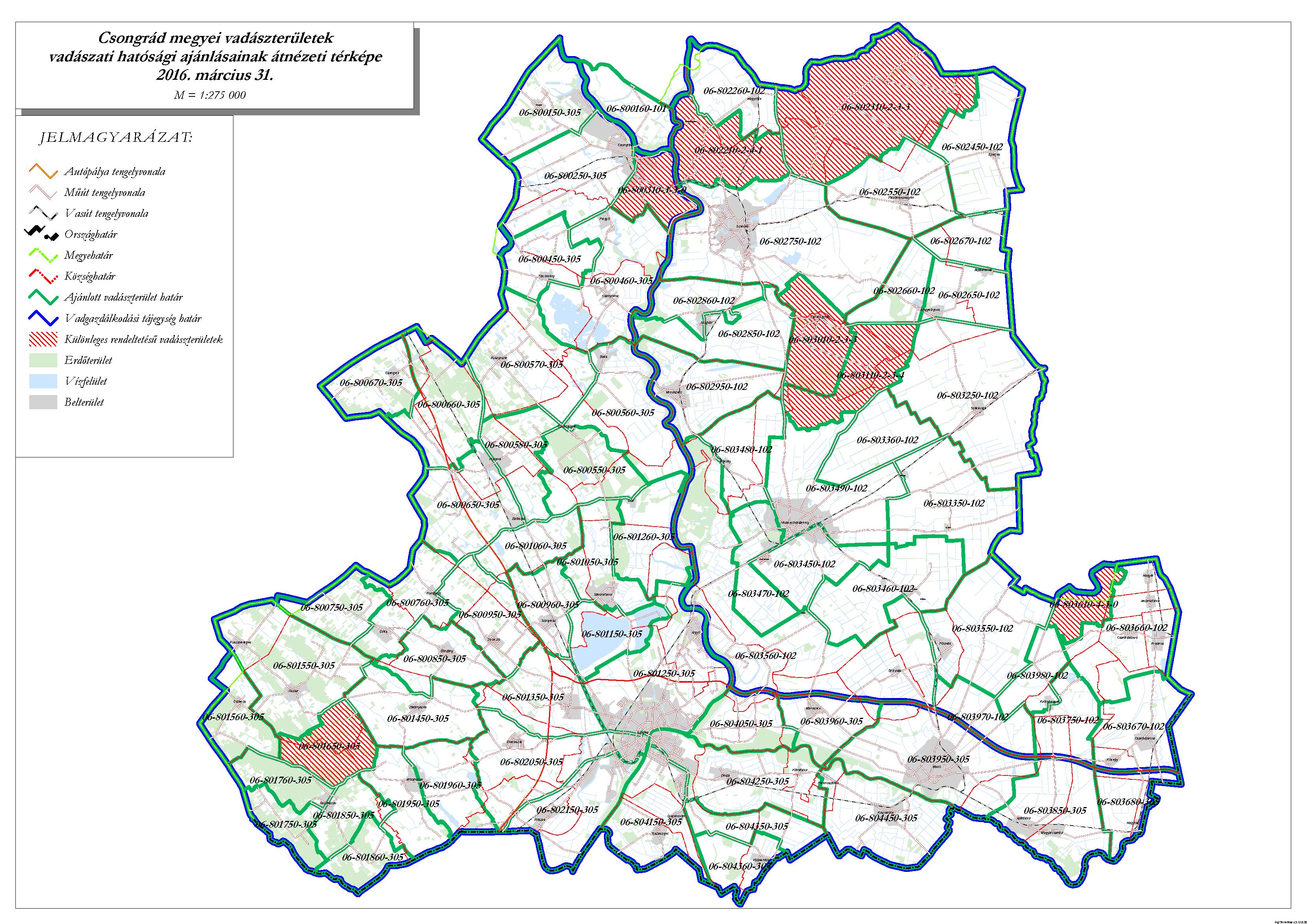 csongrád megye térkép Csongrád megyei vadászterületek vadászati hatósági ajánlásainak  csongrád megye térkép